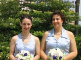 Sodalite, pearl and sterling fancy daisies necklace and earrings