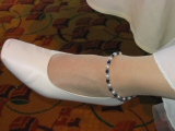 Sodalite, pearl and sterling fancy daisies anklet
