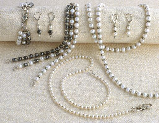 Pearls, sterling fancy daisies and hematite
